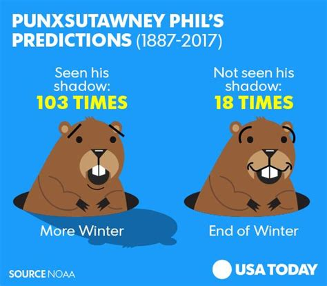 groundhog day how much time punxsutawney phil sees shadow predicts 6 more weeks of winter