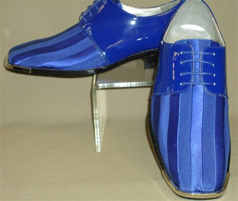 mens royal blue satin silvertip shiny patent formal dress