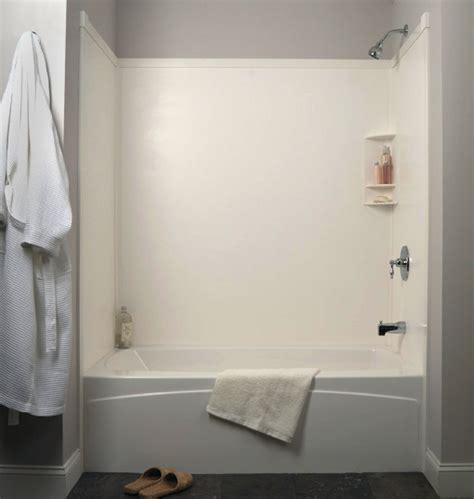 one pre fab showers one tub and shower