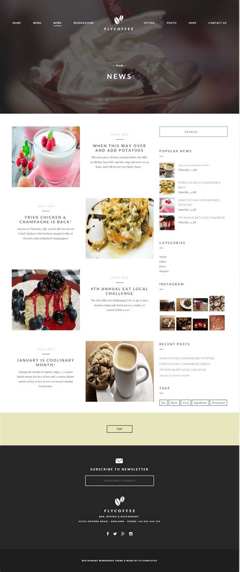 flycoffee bar and restaurant wordpress theme by