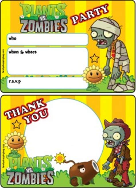 pvz card template invitations plants vs zombies invitations free