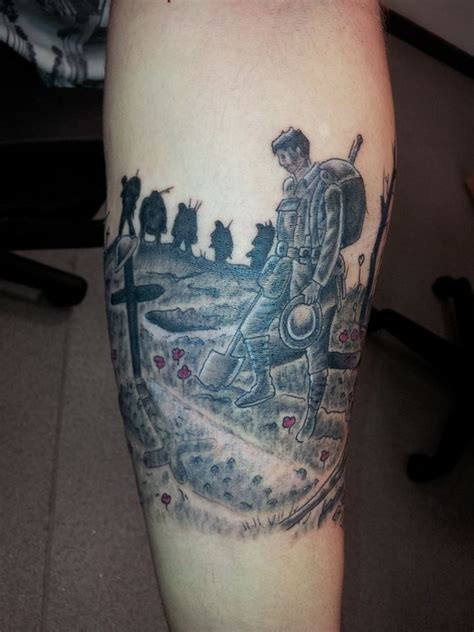 cross silhouette tattoo war sleeve memorial soldier remembrance forearm