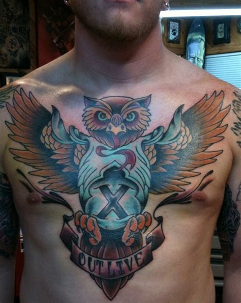 owl chest tattoos cool owl tattoos on chest cool tattoos ideas