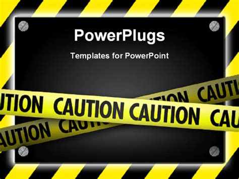 Powerpoint Template Silver Screws Glowing Over Yellow Striped Hazard 27585 Health And Safety Powerpoint Templates