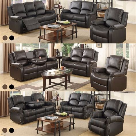 sofa set loveseat couch recliner leather  seater living room furniture ebay