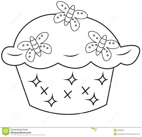 clipart da colorare cupcake coloring page stock illustration image of