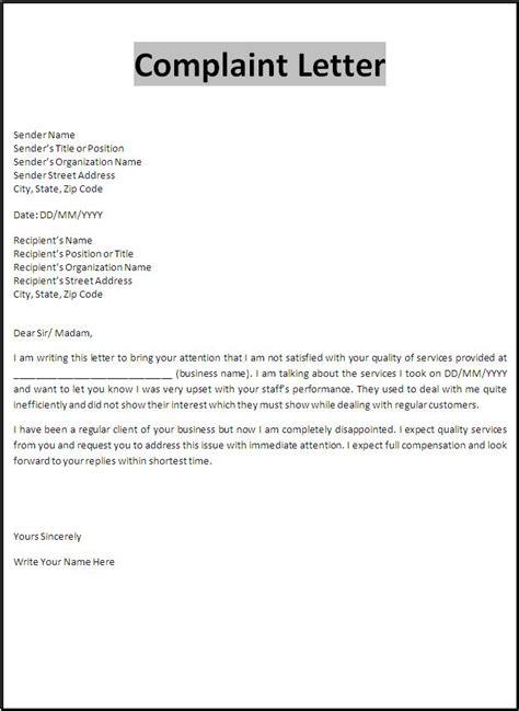 complaint letter sample word templates