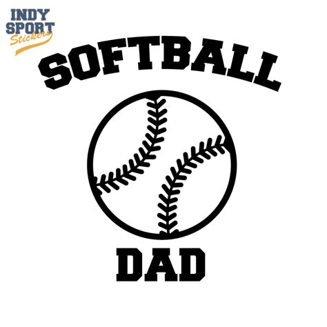 softball dad text with silhouette ball car stickers and