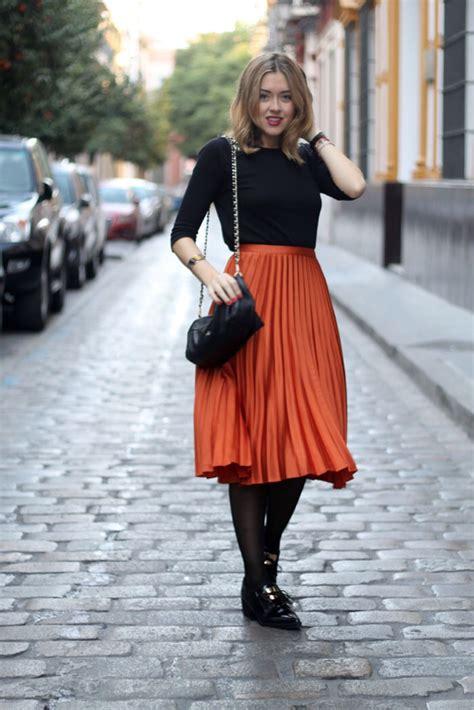 orange midi skirt fashion tights