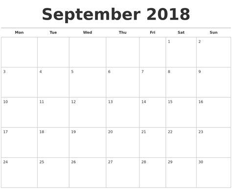 printable calendar september 2018 september 2018 calendars free