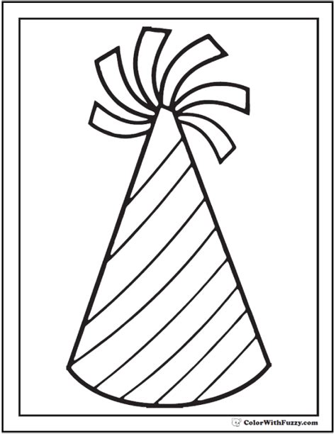 Coloring Page Party Hat | 55 birthday coloring pages customizable pdf