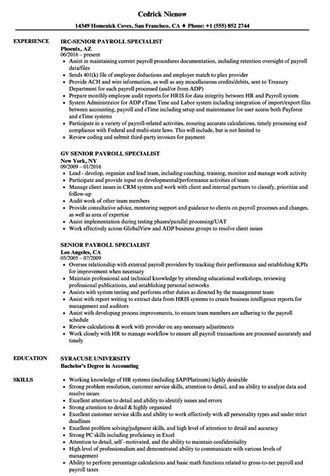Payroll Specialist Resume by Senior Payroll Specialist Resume Sles Velvet
