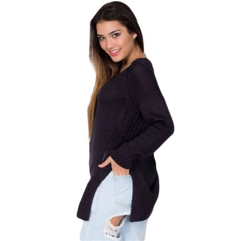 Lace Up Front Sweater lace up front side split sweater black s from