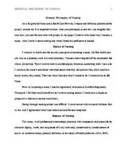 Personal Philosophy Of Nursing Essay personal philosophy of nursing exle papers