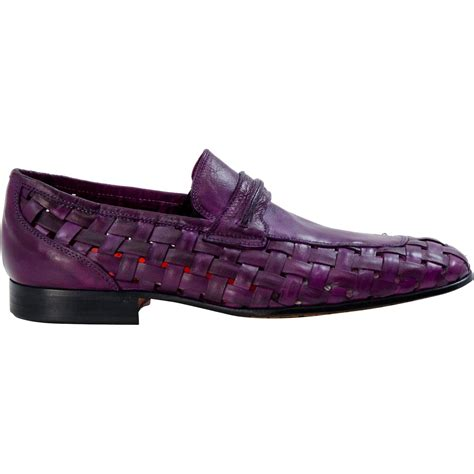 purple loafers woven leather loafers purple paolo shoes