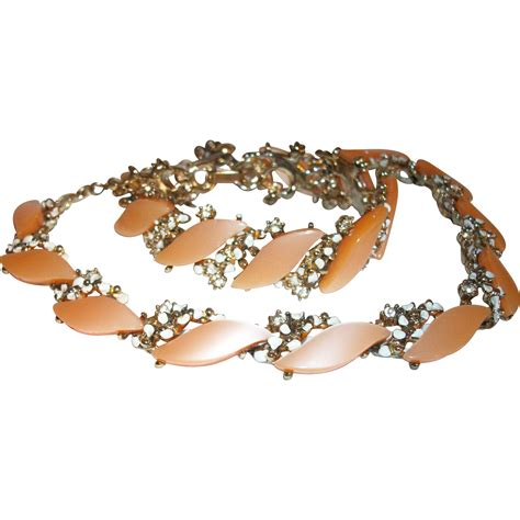 vintage coro thermoset and crystals necklace and bracelet