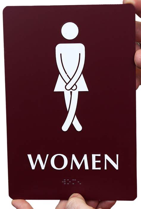 women s bathroom logo cross legs women s bathroom funny sign sku se 2027