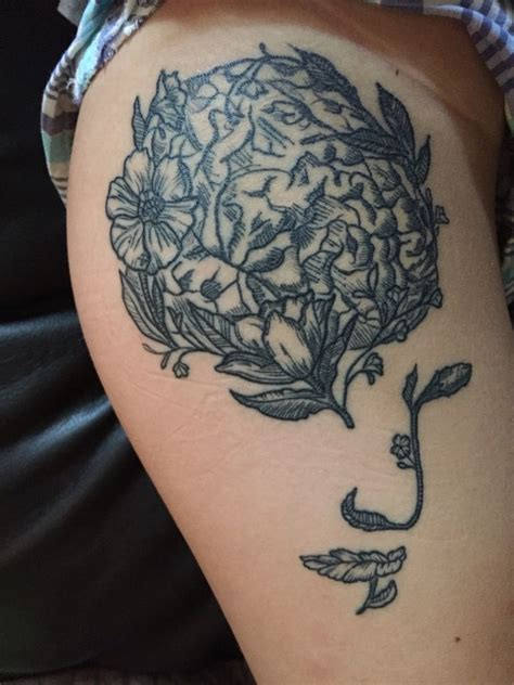 tattoo removal huntsville al anatomical brain with flowers and a illusion