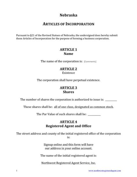 Free Nebraska Articles Of Incorporation Template Certificate Of Organization Template