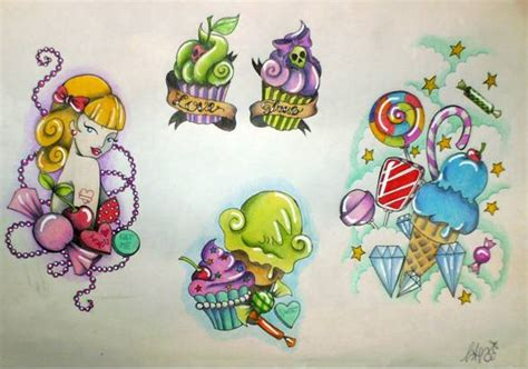 candy shop tattoo flash 1 by missaciddoll on deviantart