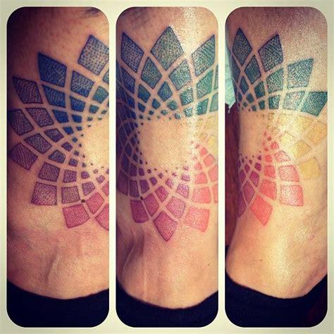 pointillism tattoo color wheel flower of fractal pointillism