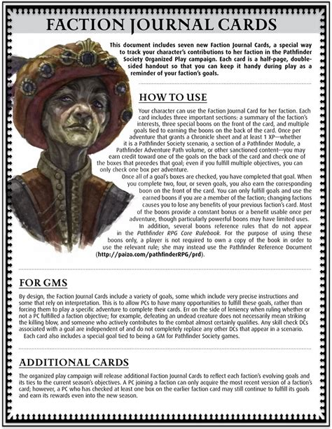 Pathfinder Cards Template by Paizo Pathfinder Society Faction Journal Cards