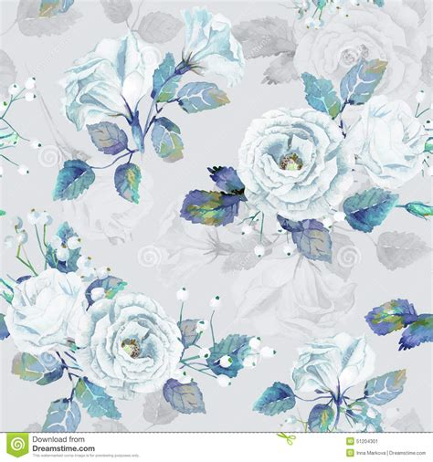 blue patterned tissue paper seamless pattern of vector watercolor blue roses stock