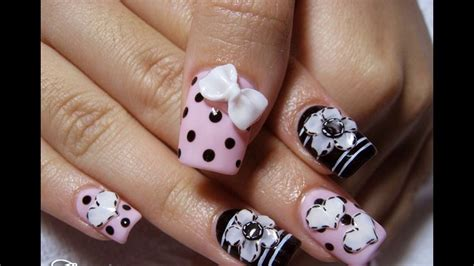 imagenes de uñas acrilicas faciles acr 237 lico u 241 as decoradas faciles y bonitas youtube