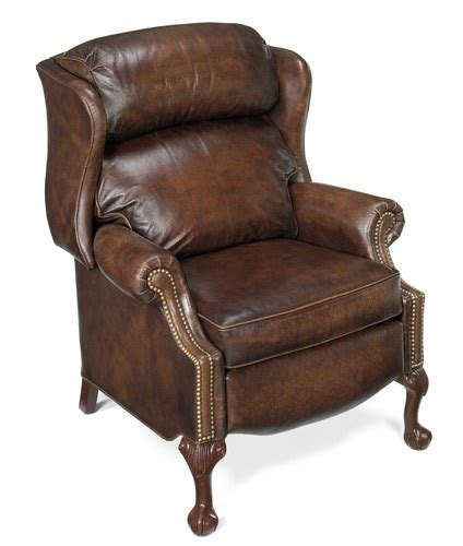 leather wing back recliner bradington young furniture chippendale ball wingback