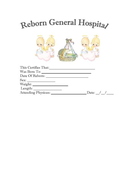 baby doll birth certificate template 6 best and
