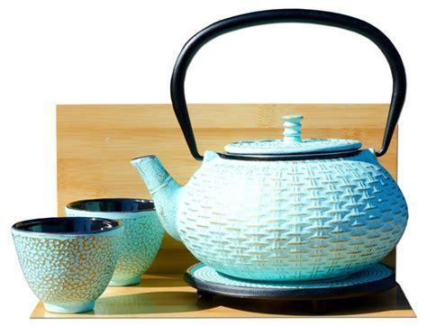 Cups Trivet & RATTAN cast iron tea pot kettle 0.8L Aqua on
