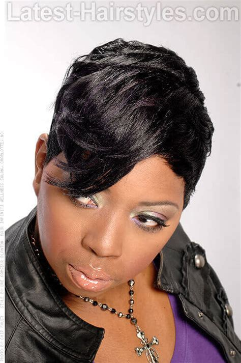 short haircuts for black women with a swoop in the front swoop bangs black hairstyles short hairstyle 2013