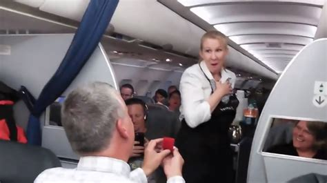 proposes to united airlines flight attendant redeye chicago