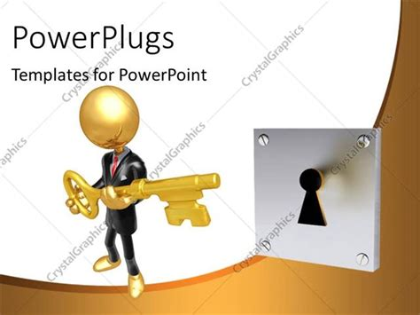 powerpoint template a person trying to unlock with the