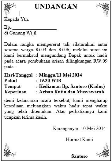 surat undangan resmi dalam bahasa sunda contoh isi undangan