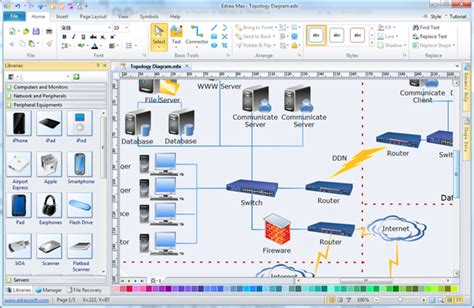 lan layout software easy topology diagram software create great looking