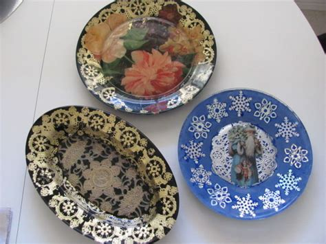 decoupage glass plate 6 steps with pictures