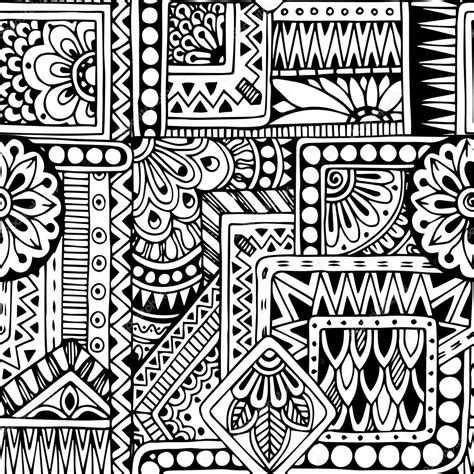 Doodle Pattern Black And White | seamless floral doodle black and white background pattern