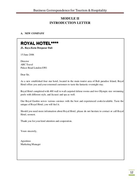 Hotel Business Introduction Letter business correspondence for the tourism industry