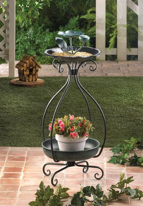 metal bird feeder and garden patio planter plant stand