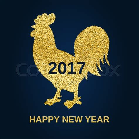 new year 2017 animal element golden glitter rooster on black background