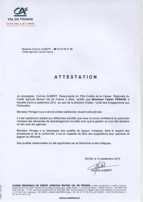 Lettre De Recommandation De La Banque Lettre De Recommandation Cv Fabien Penage