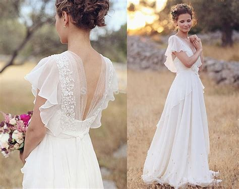 Wedding Hair Up Or With Backless Dress by Bohemian 2017 Wedding Dresses Pearls V Neck Backless