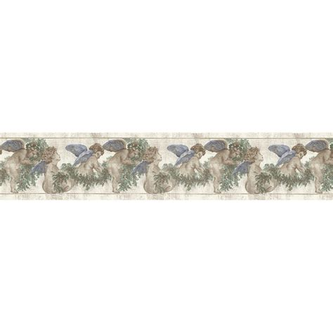 blue wallpaper border shop allen roth 6 3 4 quot blue cherubs and ivy trail