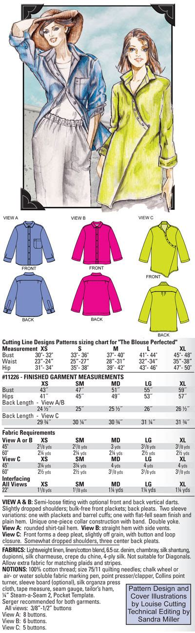 design pattern summary cutting line designs the blouse perfected 11226 pattern