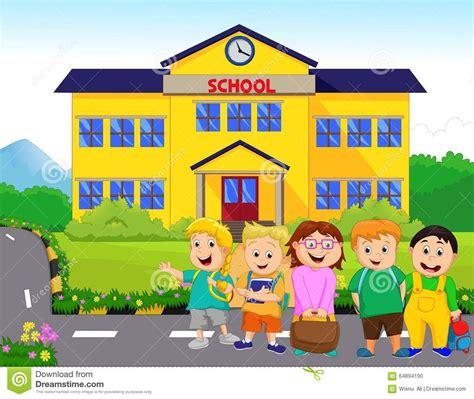 imagenes niños que van ala escuela los ni 241 os van a la escuela ilustraci 243 n del vector imagen