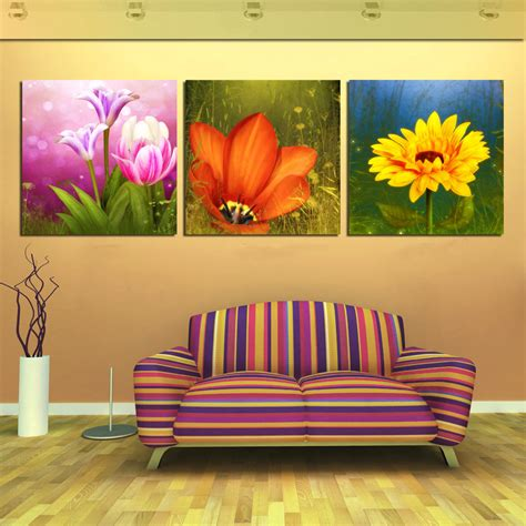 3 canvas wall office pictures flower fruit