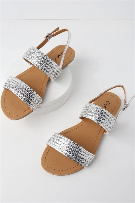 Flat Sandal Pita Silver flat sandals metallic sandals woven sandals