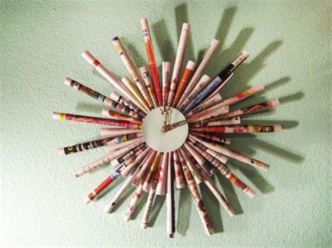 Make Your Own Paper Clock - what can be made from newspapers wall clock picture