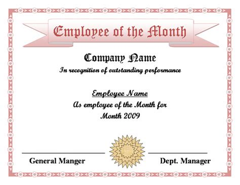 employee certificate templates search results for free employee of the month word
